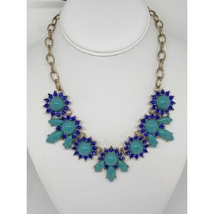 J. Crew Factory Blue Crystal Cluster Necklace NWT
